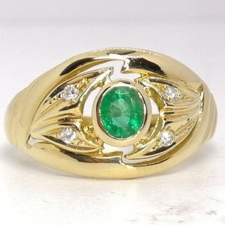 18 kt. Gold - Ring - 0.30 ct Emerald - Diamonds