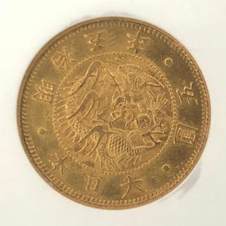 Japan - 5 Yen - Meiji era, year 5 (1872) - small type - Gold