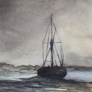 """Unknown artist watercolour painting- """" Shipping boat """""""