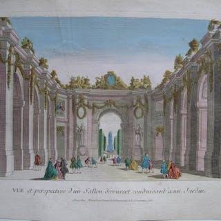 Versailles - Vue perspective d'un salon découvert dans le Parc du Château