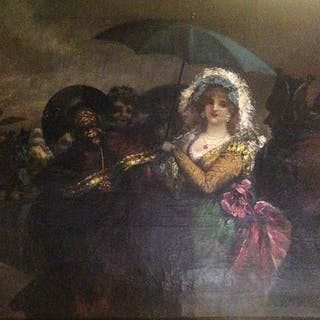 Eugenio Lucas Velázquez (1817-1870) - Maja goyesca con sombrilla