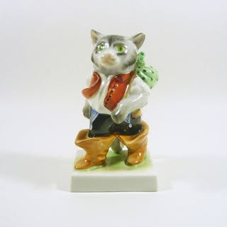 Herend - Puss in Boots, Cat in Human Dress - 16 cm. - Porcelain