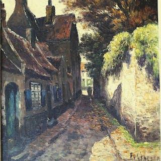 """Frans Van Genesen( 1887 -1961) - """"Beguinage a Bruges"""""""