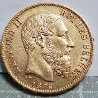 Belgium - 20 Francs 1875 Leopold II - Gold