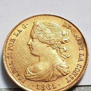 Spain - 100 Reales 1861 - Isabel II - Gold