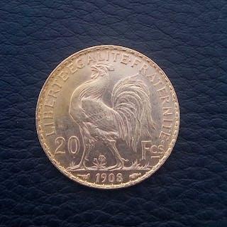 France - 20 Francs 1908 Marianne - Gold