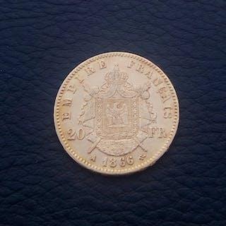 France - 20Francs 1866-A (Paris) Napoleon III- Gold