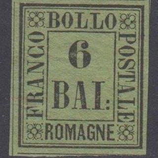 Italia 1859 - Romagne - 6 baj verde giallo nuovo con gomma - Sassone 7