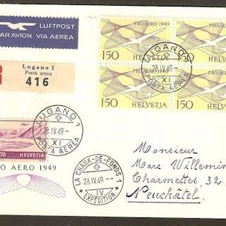 """Schweiz 1926/1949 - 8 """"special flights"""" documents - LHB LuftPostHandbuch RF 26.2"""