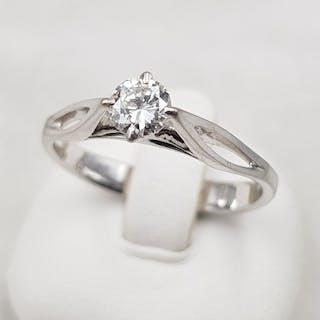 18 quilates Oro blanco - Anillo solitario - Oro blanco 750 - 1 diamante