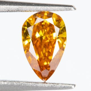Diamond - 0.25 ct - Natural Fancy VIVID orangy Yellow - SI1*NO RESERVE*