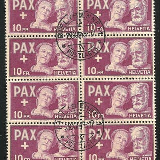 Schweiz - 10,- PAX 1945, block of 8 - Zumstein 274 / Michel 459