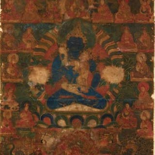 Thangka - tempera on canvas - Vertical tangka despicting...