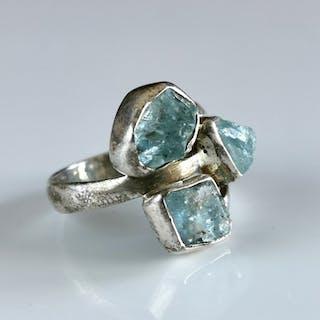 Aquamarin Sterling Silber und Aquamarin Ring - Größe US 8.5 - 6.22 g - (1)