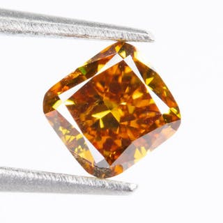 Diamond - 0.28 ct - Natural Fancy VIVID Orange-Yellow - SI1*NO RESERVE*