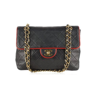 Chanel - RARE VINTAGE Borsa a tracolla con finiture a contrasto
