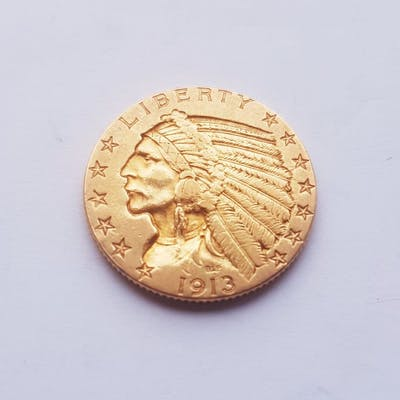 United States - 5 Dollars 1913 Indian Head - Gold | Barnebys