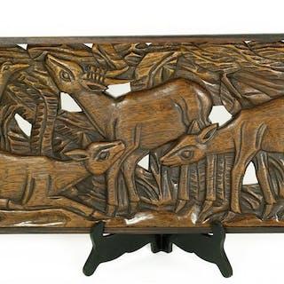 Lambertus Zijl (1866-1947) - Large wooden relief of deer...