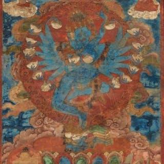 Thangka - polychromy on canvas - RARE vertical Thangka of...