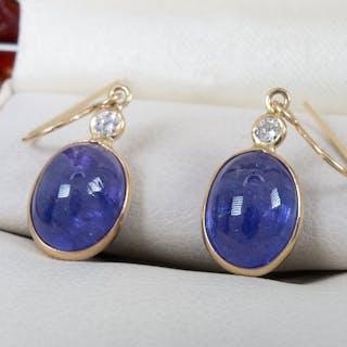14 carati Oro - Orecchini con diamanti e tanzanite da 5,70 ct.