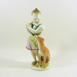 """Herend - """"Little Jealous"""" Girl with a Pointer Dog - 21 cm. - Porcelain"""