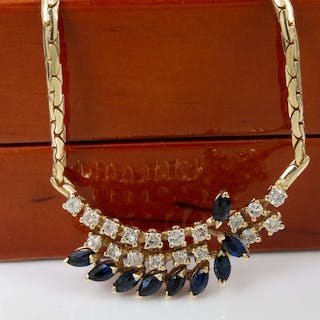 14 kt. Gold - 1.54 Ct - diamond and sapphire necklace.
