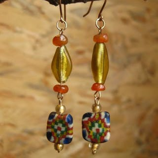 Ancient Roman Gold Earrings with Byzantium and Roman glass beads