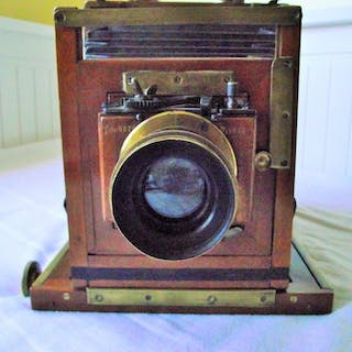 H. Jasper Redfern Sheffield Half Plate Field camera + brass lens F8 to F64