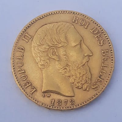 Belgique -  20 francs Franc 1872 Leopold II - Or