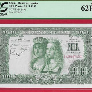 Spanien - 1000 Pesetas29.11.1957 - Pick 149a - PCGS 62PPQ New