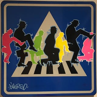 "Dverso - "" Ministry of silly walks after Banksy"" on original traffic sign"
