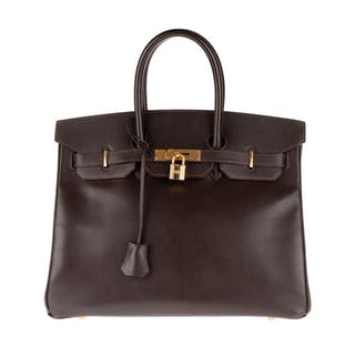 Hermès - Birkin 35 en cuir Courchevel café Borsa a mano
