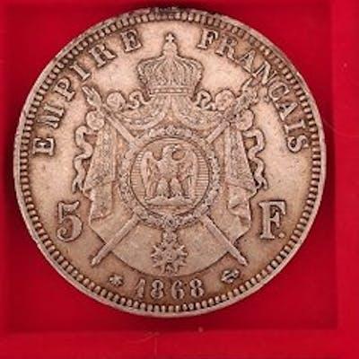 France - 5  Francs 1868-A, 1869-A, 1870-A Napoléon III (3 monnaies) - Argent