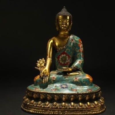Statue - Bronzo - Lotus Buddha  - Cina - Seconda metà del 20° secolo