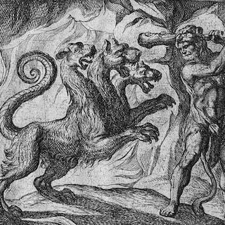 Antonio Tempesta, 1606 - Hercules fighting Cerberus: the dog from Hell / Hades