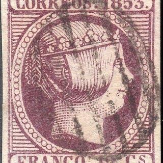 Spagna 1853 - Isabella II - 12 cuartos violet - Used - Edifil 18