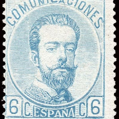 Spanien 1872 - Amadeo I - 6 cuartos blue - Mint without gum - Edifil 119