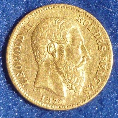 Belgique - 20 Francs 1870 Leopold II - Or