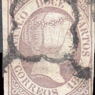 Spagna 1851 - Isabella II - 12 cuartos lilac - Used - Edifil 7