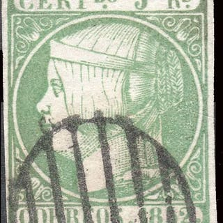 Spagna 1852 - Isabella II - 5 reales green - Used - Edifil 15