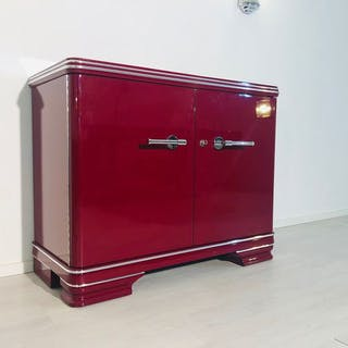 Original Art Deco dresser in glossy red