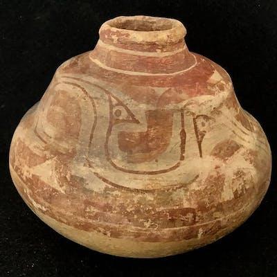 Poterie (1) - Marajoara décoré bocal avec des oiseaux - Ile de Marajo