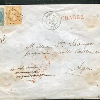 Francia 1870 - Rare local letter charged from Agen (1870)...