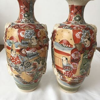 Vasen (2) - Satsuma - Porzellan - Japan - 1920-30er Jahre (Taisho / Showa)