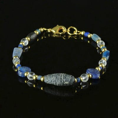 Ancient Roman Glass Bracelet with blue glass beads - 18.5 cm - (1)