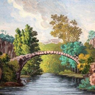 Carlos De Haes (Bruselas, 1829 - Madrid, 1898)- Paisaje con rio