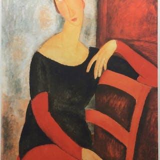 AmédéoModigliani ( d'après)- Jeanne Hebuterne accoudée à une chaise