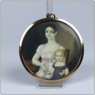 Portrait-Miniatur - Empire - Elfenbein, Gold - 19. Jahrhundert