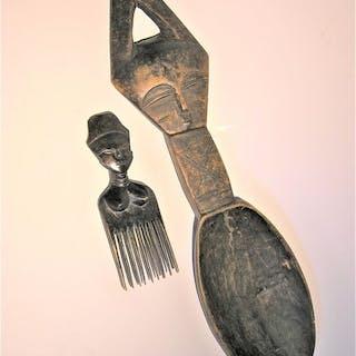 cuillère et peigne (2) - Bois - baoulé - Baoulé - Côte d'Ivoire