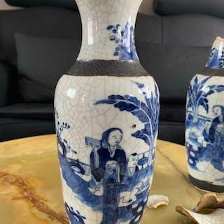 Vasen (2) - Blau und weiß - Keramik - China - 19. Jahrhundert